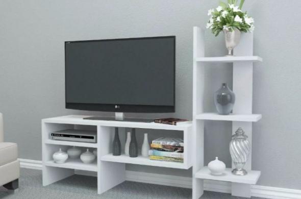 ТВ - шкаф - Бял гланц